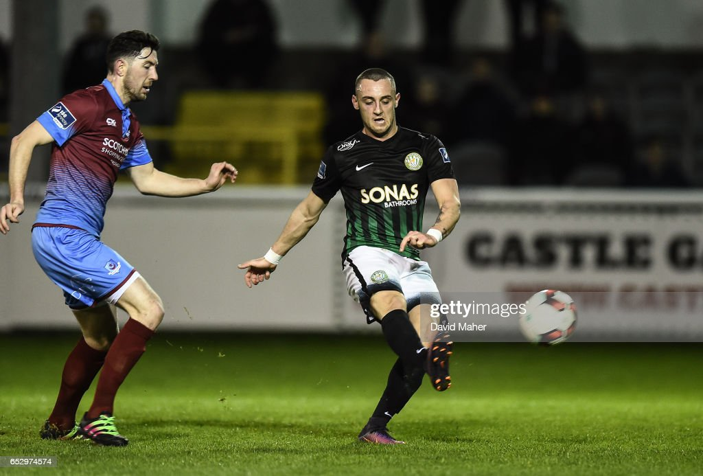Wicklow , Ireland - 13 March 2017; Dylan Connolly of Bray Wanderers shoots to score his side's second goal despite the attempts of Ciaran McGuigan of Drogheda United during the SSE Airtricity League Premier Division match between Bray Wanderers and Drogheda United at the Carlisle Grounds in Bray, Co Wicklow.