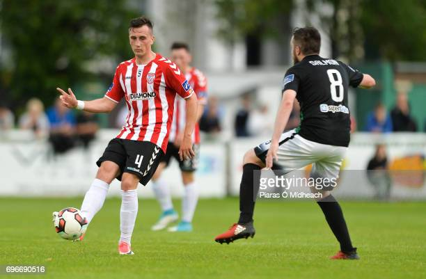 Wicklow Ireland 16 June 2017 Aaron McEneff of Derry City in action against Mark Salmon of Bray Wanderers during the SSE Airtricity League Premier...