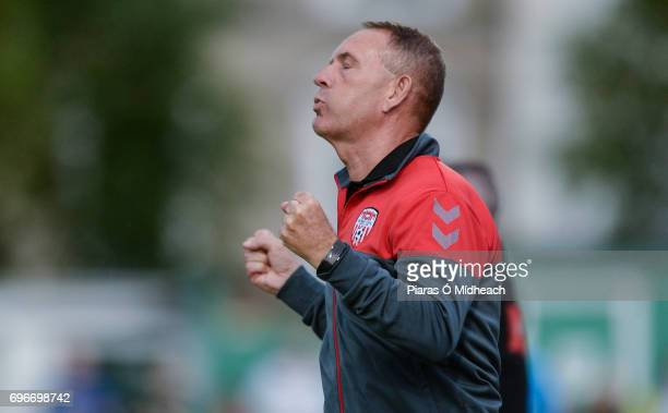 Wicklow Ireland 16 June 2017 Derry City manager Kenny Shiels reacts during the SSE Airtricity League Premier Division match between Bray Wanderers...