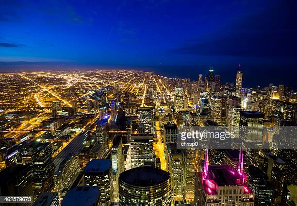 Wide Aerial View of Chicago at Twilight