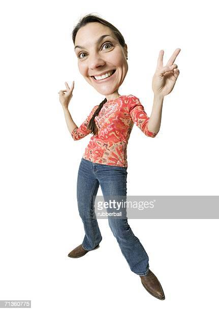 Wide angle caricature of a woman giving peace signs