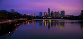 Wide Angle Night Time Austin Skyline Before Sunrise Reflections