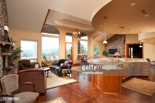 Wide Angle Of Modern Living Room And Kitchen Stock Photo Getty