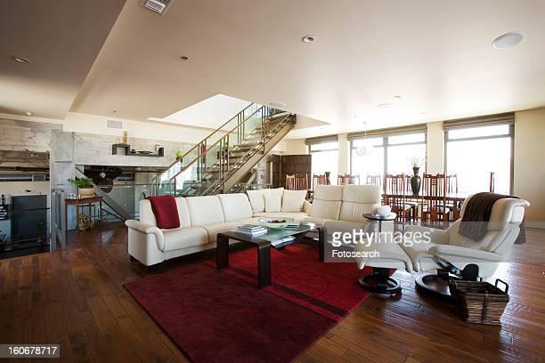 Wide angle of modern living room