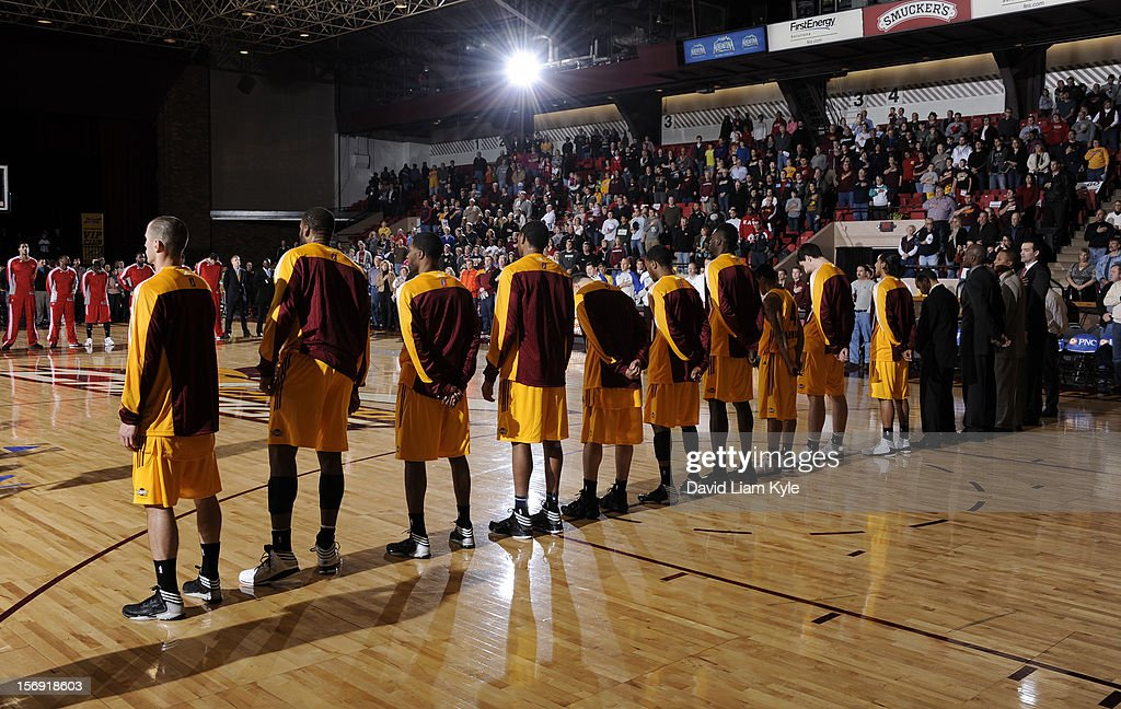 Wide angle of the Canton Charge during the National Anthem prior to the game against the Maine Red Claws at the Canton Memorial Civic Center on November 23, 2012 in Canton, Ohio.