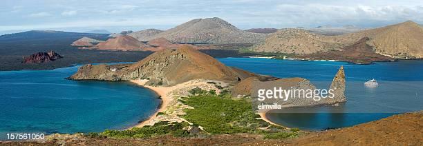 ピンぼけパノラマに広がるバルトロメ島のガラパゴスます。Nikon D 3