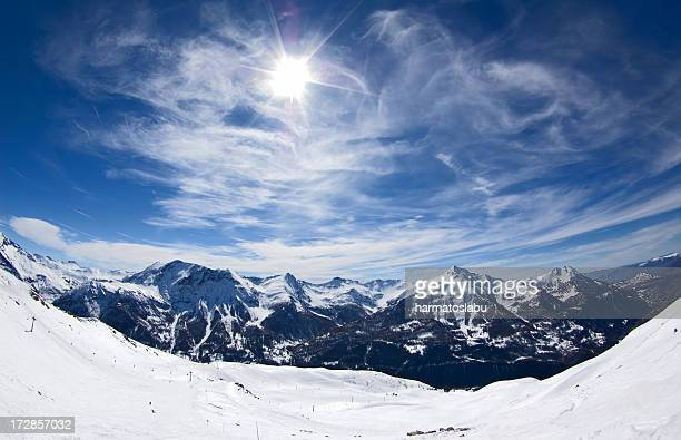 Wide angle photograph of snowy mountains