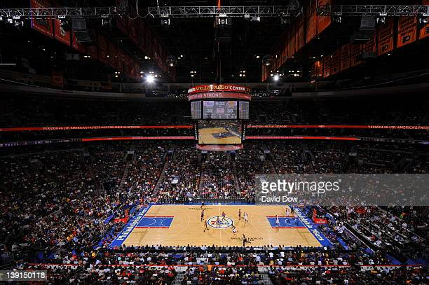 A wide angle shot of the arena during the game between the Philadelphia 76ers and the Los Angeles Lakers on February 6 2012 at the Wells Fargo Center...