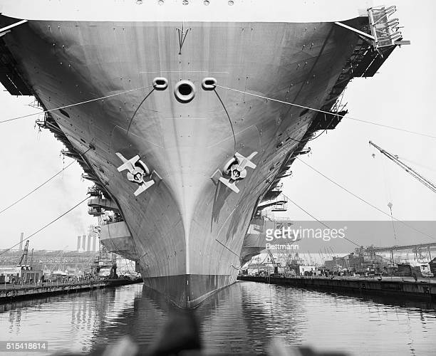 A wide angle shot of the bow of the USS Saratoga the world's most powerful warship as the super carrier made her first move since the keel was laid...