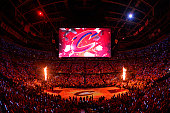 A wide angle shot of the Quicken Loans Arena before the Atlanta Hawks play against the Cleveland Cavaliers in Game Four of the Eastern Conference...