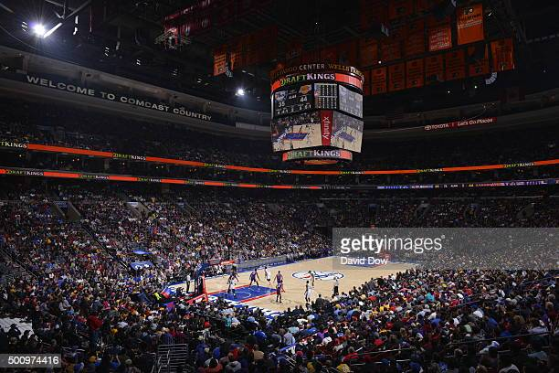 A wide angle view at the Wells Fargo Center during the Los Angeles Lakers game against the Philadelphia 76ers on December 1 2015 in Philadelphia...
