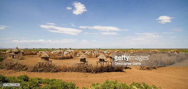 CONTENT] A wide angle view of a Daasanach village near Omorate in the Omo Valley