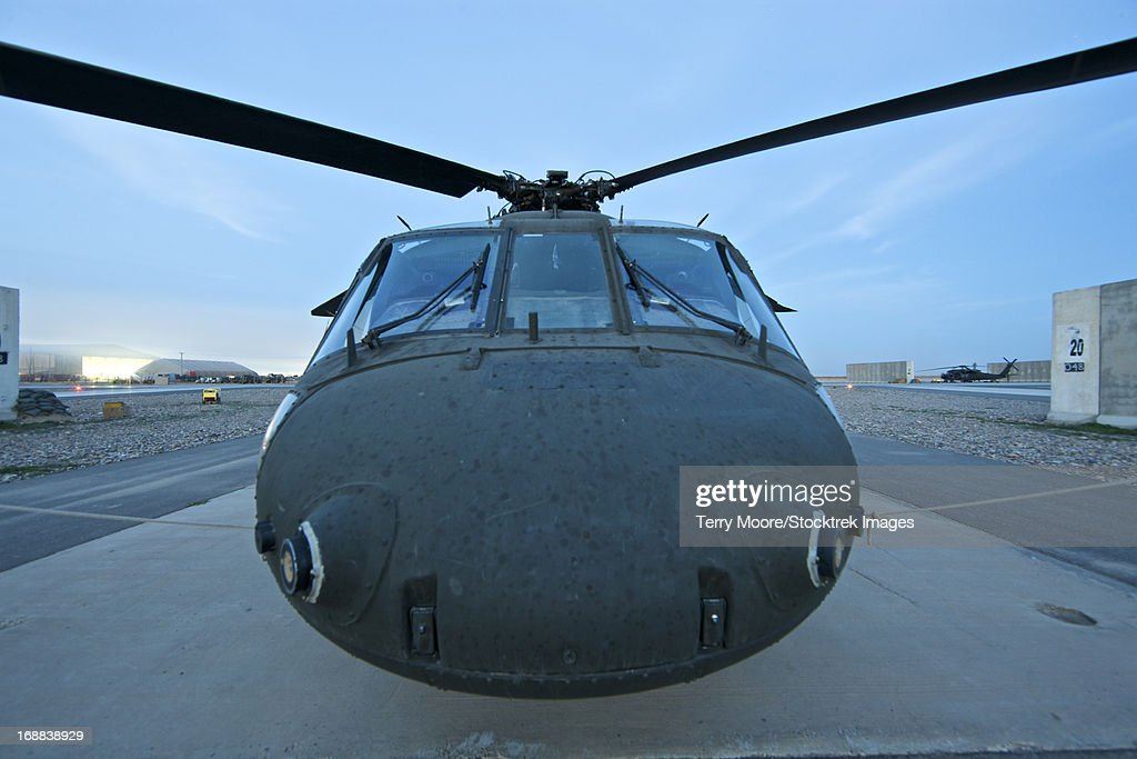 Wide angle view of a UH-60 Black Hawk helicopter, Tikrit, Iraq.