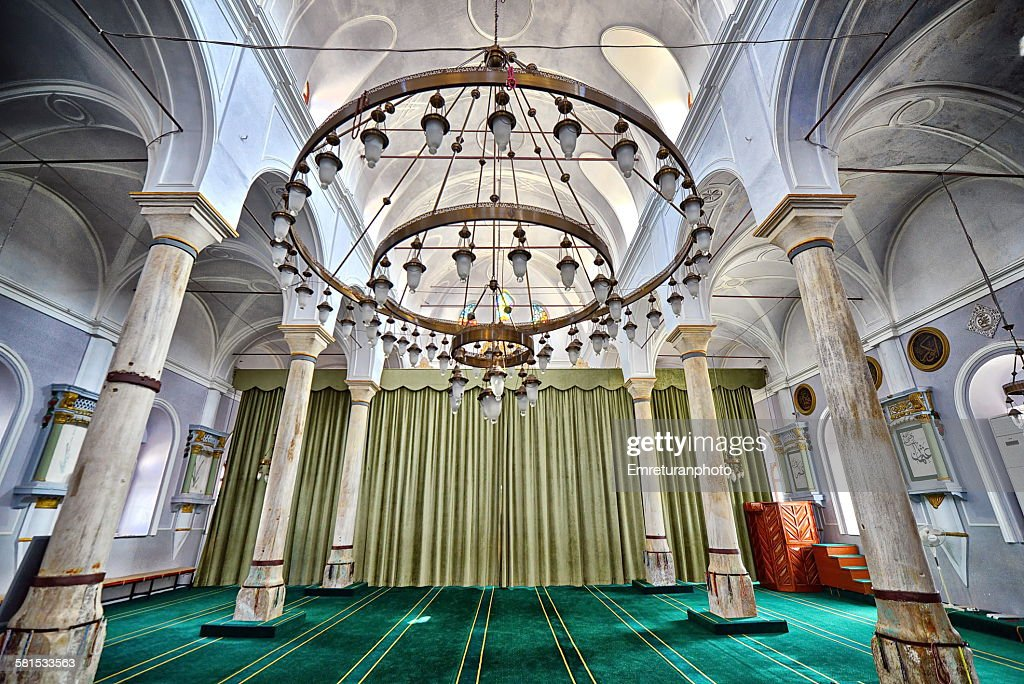 Wide angle view of Alacati mosque interior : Stock Photo