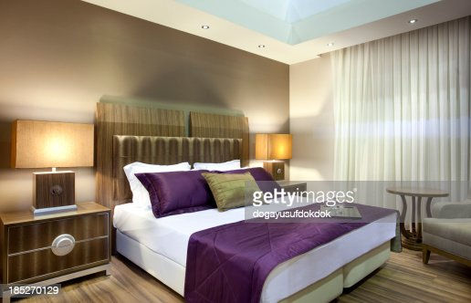 Wide angle view of luxury hotel suite