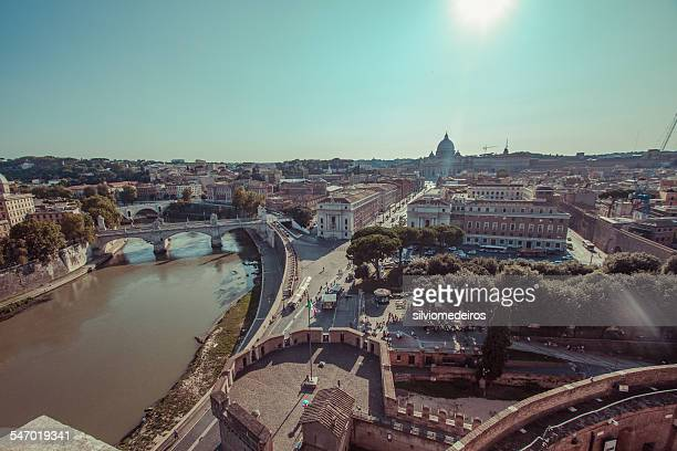 Wide angle view of Rome and the Tiber river, Italy