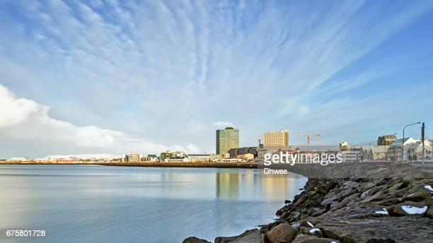 Wide Angle View Of The Coastline Of Reykjavik City In The Afternoon