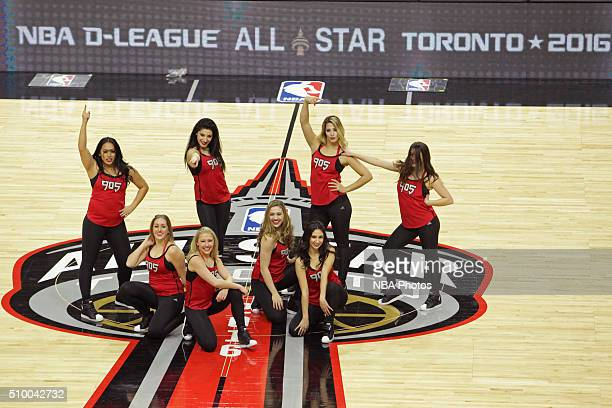 A wide angle view of the dance team performing at Ricoh Coliseum during the NBA DLeague AllStar Game presented by Kumho Tire as part of 2016 AllStar...