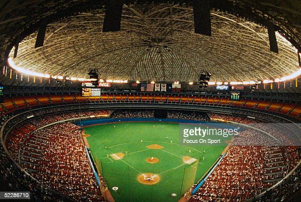 A wide angle view of the Houston Astrodome during a Astros Baseball game circa 1980's in Houston Texas
