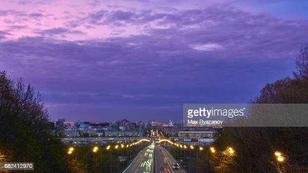 A wide avenue in the central part of Moscow at dusk