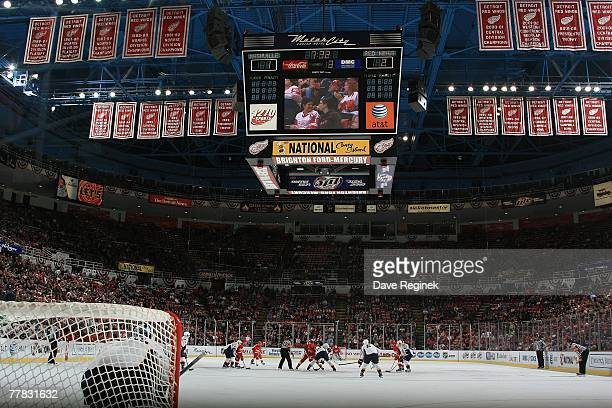 A wide end view of Joe Louis Arena in Detroit Michigan during the NHL game between the Nashville Predators and the Detroit Red Wings on November 7...