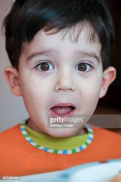 Wide eyed boy