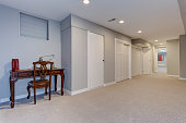 Wide hallway of home basement with light gray walls and carpet floor.