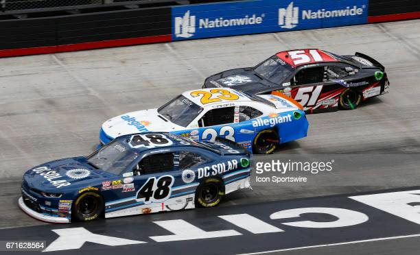 3 wide in Turn 4 during the Fitzgerald Glider Kits 300 NASCAR Xfinity Series race on April 22 2017 at Bristol Motor Speedway in Bristol TN