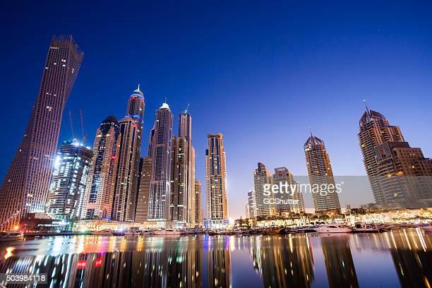 Wide Panoramic View of Dubai Marina Waterfront