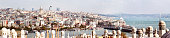 Wide panoramic view of Istanbul Galata Beyoglu