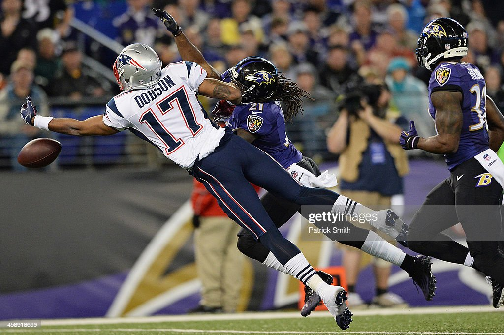 Wide receiver <a gi-track='captionPersonalityLinkClicked' href=/galleries/search?phrase=Aaron+Dobson&family=editorial&specificpeople=6336020 ng-click='$event.stopPropagation()'>Aaron Dobson</a> #17 of the New England Patriots misses a catch against the Baltimore Ravens in the third quarter at M&T Bank Stadium on December 22, 2013 in Baltimore, Maryland. The New England Patriots won, 41-7.