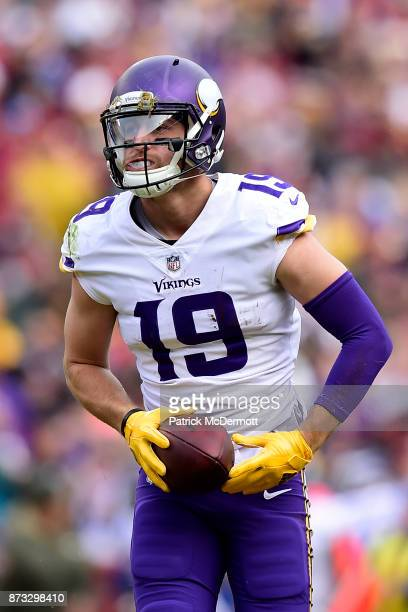 Wide receiver Adam Thielen of the Minnesota Vikings celebrates after a reception during the second quarter against the Washington Redskins at...