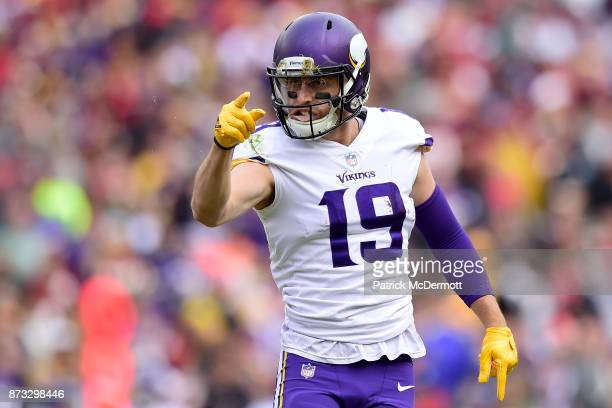 Wide receiver Adam Thielen of the Minnesota Vikings runs upfield after a reception during the second quarter against the Washington Redskins at...