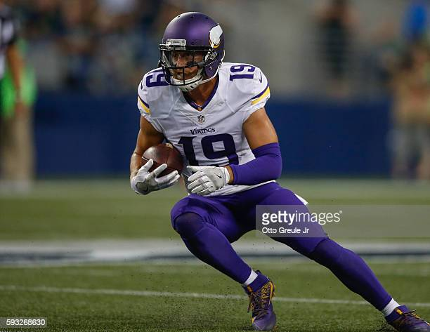 Wide receiver Adam Thielen of the Minnesota Vikings rushes against the Seattle Seahawks at CenturyLink Field on August 18 2016 in Seattle Washington