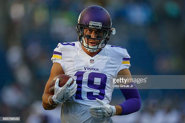Wide receiver Adam Thielen of the Minnesota Vikings warms up prior to the game against the Seattle Seahawks at CenturyLink Field on August 18 2016 in...