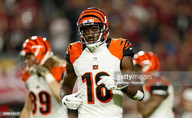 Wide receiver AJ Green of the Cincinnati Bengals during the NFL game against the Arizona Cardinals at the University of Phoenix Stadium on November...