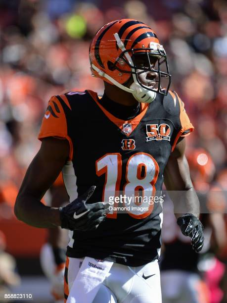 Wide receiver AJ Green of the Cincinnati Bengals runs to his position in the third quarter of a game on October 1 2017 against the Cleveland Browns...