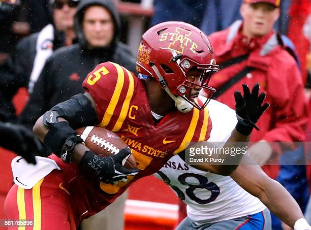 Wide receiver Allen Lazard of the Iowa State Cyclones rushes for yards in the first half of play against the Kansas Jayhawks at Jack Trice Stadium on...