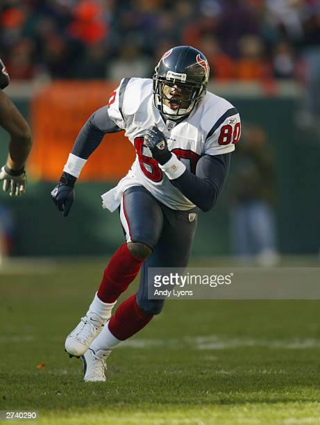 Wide receiver Andre Johnson of the Houston Texans runs during the game against the Cincinnati Bengals at Paul Brown Stadium on November 9 2003 in...