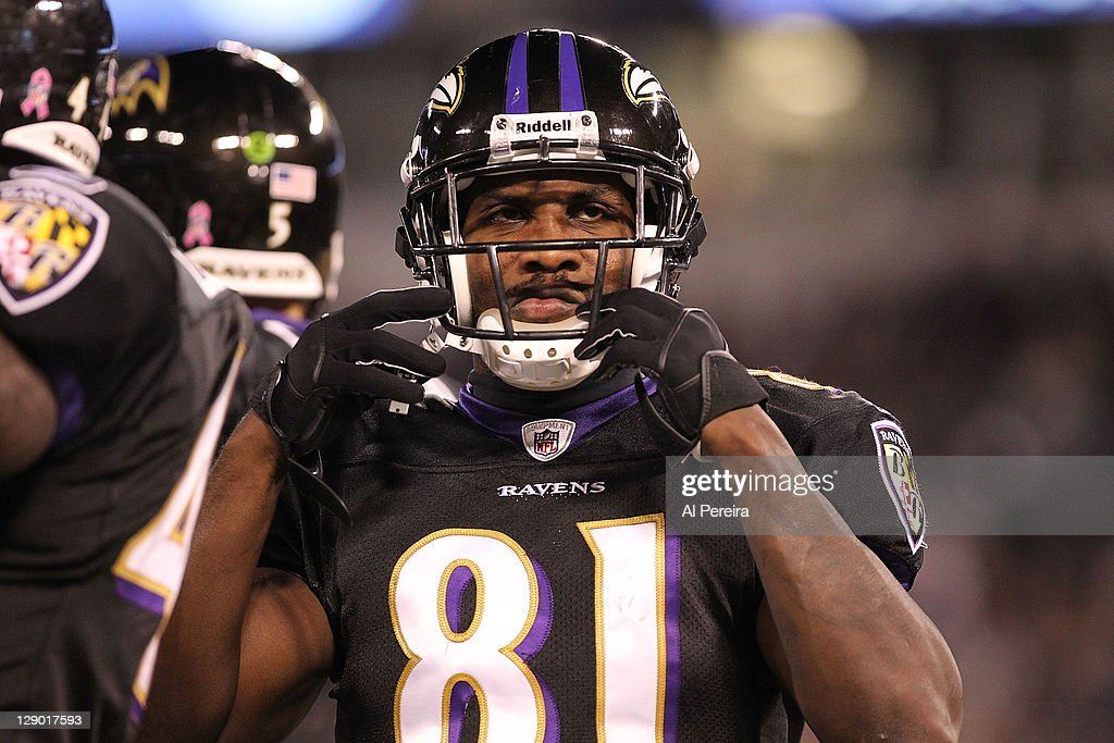 Wide Receiver <a gi-track='captionPersonalityLinkClicked' href=/galleries/search?phrase=Anquan+Boldin&family=editorial&specificpeople=182484 ng-click='$event.stopPropagation()'>Anquan Boldin</a> #81 of the Baltimore Ravens follows the action when the Baltimore Ravens host the New York Jets at M&T Bank Stadium on October 2, 2011 in Baltimore, Maryland. The Ravens defeated the Jets 34-17.