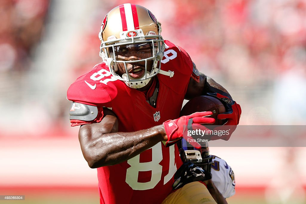 Wide receiver Anquan Boldin #81 of the San Francisco 49ers runs with the ball after a catch against the Baltimore Ravens during their NFL game at Levi's Stadium on October 18, 2015 in Santa Clara, California.