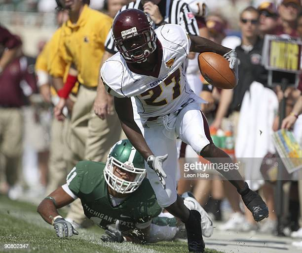 Wide receiver Antonio Brown of the Central Michigan University Chippewas runs for a five yard gain in the first quarter against the Michigan State...