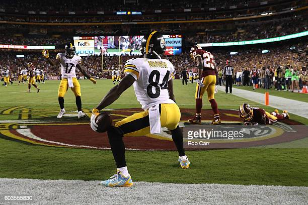 Wide receiver Antonio Brown of the Pittsburgh Steelers celebrates after scoring a third quarter touchdown against the Washington Redskins at...