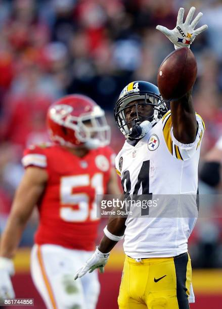 Wide receiver Antonio Brown of the Pittsburgh Steelers celebrates after catching a pass for a first down during the game against the Kansas City...