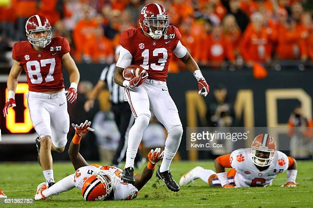 Wide receiver ArDarius Stewart of the Alabama Crimson Tide runs with the ball during the first half against the Clemson Tigers in the 2017 College...