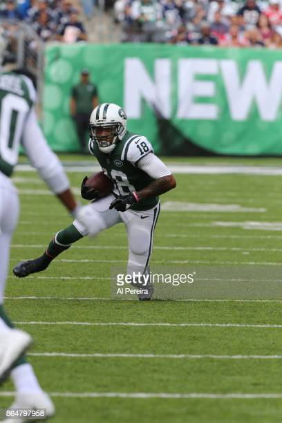 Wide Receiver ArDarius Stewart of the New York Jets in action against the New England Patriots during their game at MetLife Stadium on October 15...