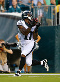 Wide receiver Arrelious Benn of the Philadelphia Eagles catches a touchdown pass in the preseason game against the New York Jets on August 28 2014 at...