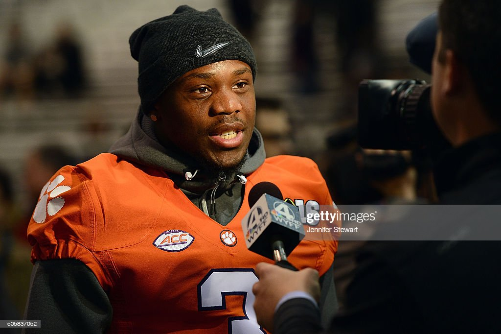 Wide receiver Artavis Scott of the Clemson Tigers during an interview for Media Day for the College Football Playoff National Championship at Phoenix...
