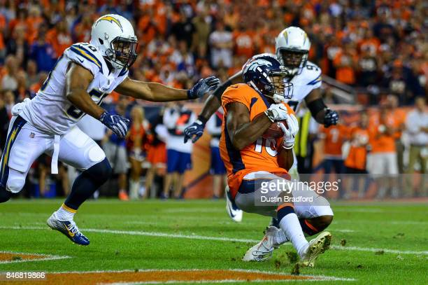 Wide receiver Bennie Fowler of the Denver Broncos catches a touchdown pass in the third quarter of the game against the Los Angeles Chargers at...
