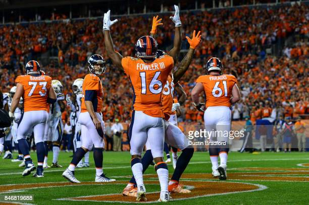 Wide receiver Bennie Fowler of the Denver Broncos celebrates a touchdown catch in the first quarter of the game against the Los Angeles Chargers at...